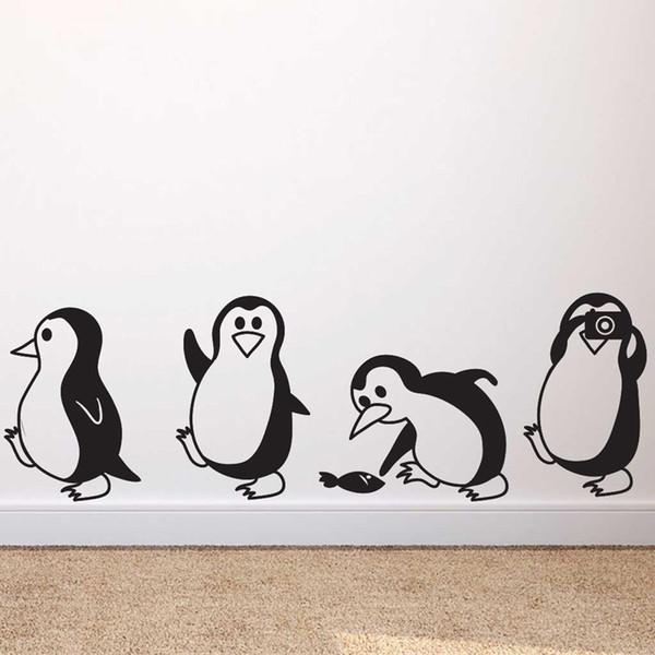 Niedlichen kleinen Pinguin Wandaufkleber Home Decor Kinder Wohnzimmer Wandbilder Art Decals Tapeten Ani Aufkleber