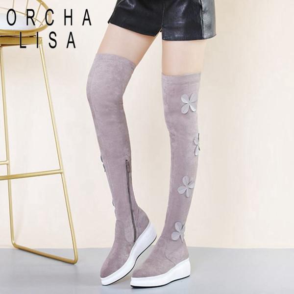 ORCHA LISA Nuovo sopra il ginocchio stivali per le donne decorazione floreale delle donne zeppe con cerniera tacco allungato stivali lunghi Scarpe Donna C896