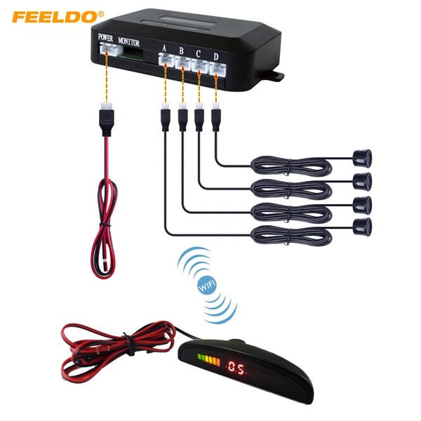 FEELDO 1 Conjunto Carro Display LED Monitor Buzzer 4 Sensores de Estacionamento Sem Fio Sensor de Backup Radar Invertendo Radar 10-Cores # AM882