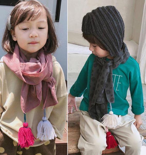 8 Designs warm children scarf boy and girl comfortable scarves polka dot tassles scarf autumn winter cotton kids neckerchief