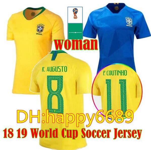 Women Shirt 2018 World Cup Coutinho Jesus soccer jerseys Oscar PAULINHO Marcelo Casemiro Brasil National Team Football