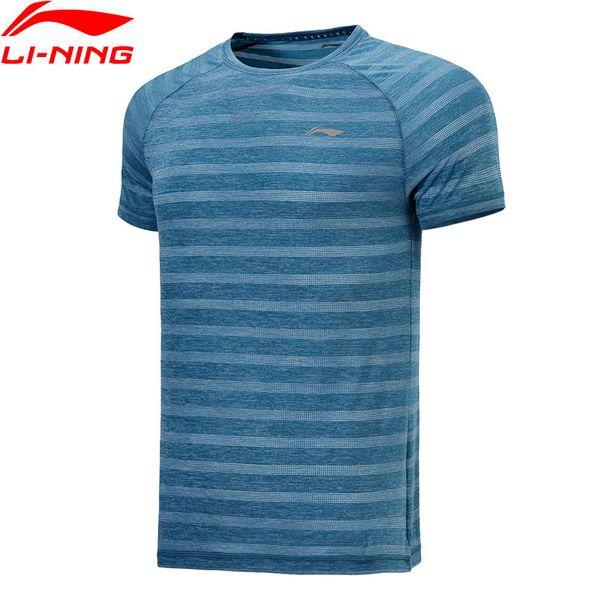 Men Running T-shirts 92% Polyester 8% Spandex LiNing Sports Tee Comfortable Breathable Tee Tops ATSN029 MTS2739