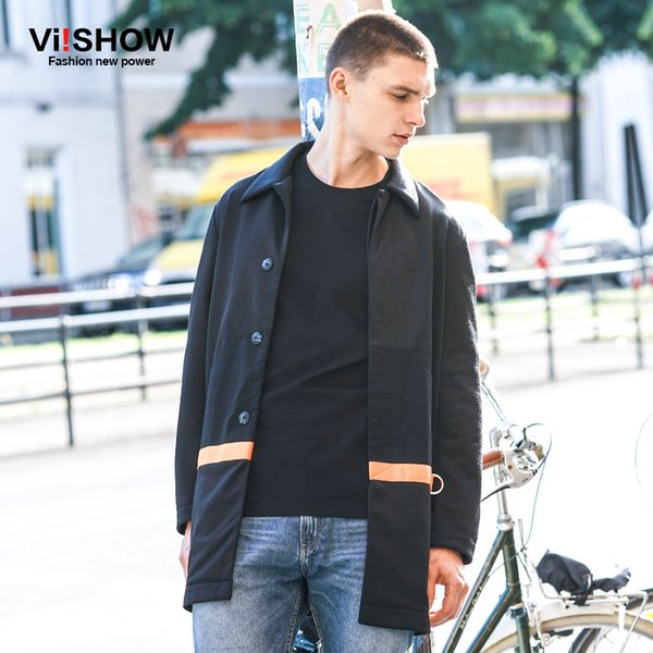 VIISHOW 2017 New Trench Coat Men Brand Clothing Top Quality Cotton Windbreaker Male Long Black Trench Solid Coat Jacket FCY7163