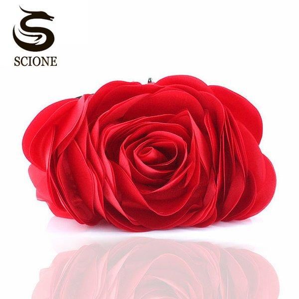 Fashion Flower Clutch Bag Women Wedding Handbag Bridal Clutch Purse Evening Dress Clutches Party Wallet Shoulder Chain Bag Y18102304