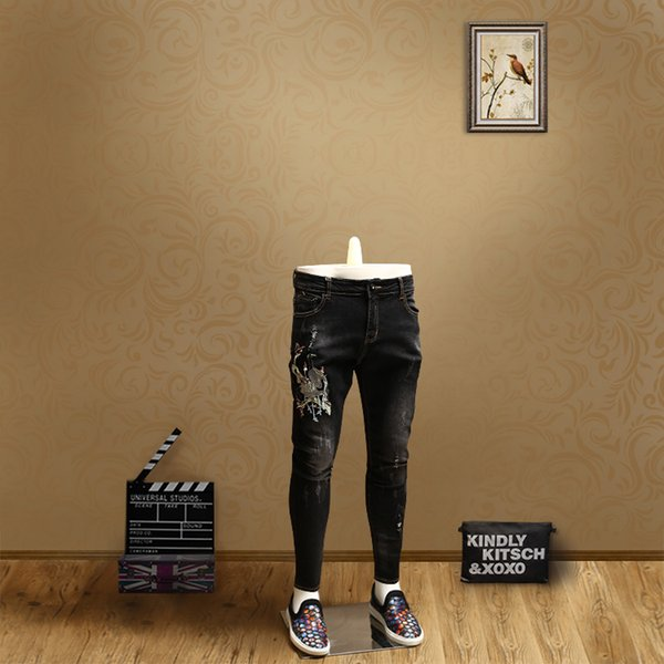 Summer new men's youth tide style personality pattern casual European station nine points jeans