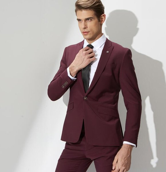 Hot Sale Burgundy Men Suits Business Suits Custom Made Wedding Suits 2 Pieces Slim Fit Grooms Tailored Tuxedo Terno Masculino (Jacket+Pants)
