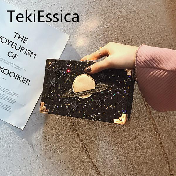 TekiEssica Gold Sequined Planet Bordado Estrella Velvet Velor Caja cuadrada Bolsos Mini Bolsos Crossbody Mujeres Messenger Bag