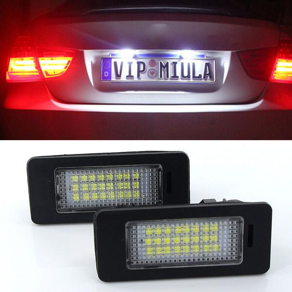 2pcs 24 SMD voiture blanche led lampe de plaque d'immatriculation pour BMW E90 E82 E92 E93 E3 E39 E60 E70 X5 E39 E60 E61 E5 M88 Canbus