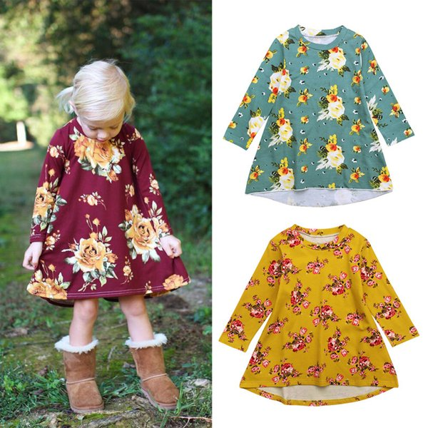 Baby dress Fall fashion European & American style soft child clothes Flowers with printed processing breathable material clothes for kids