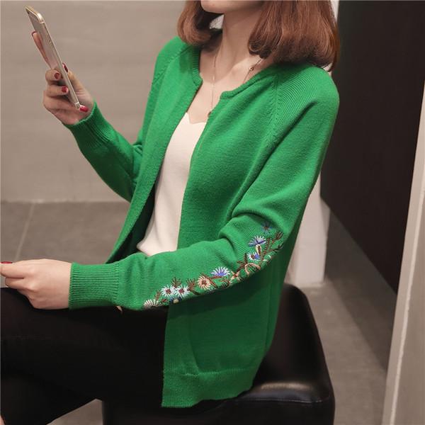 2018 Autumn Knitting Loose Fashion Women's Cardigans Embroidery Long Sleeve Simple Style Female Sweaters Korea Style Coats