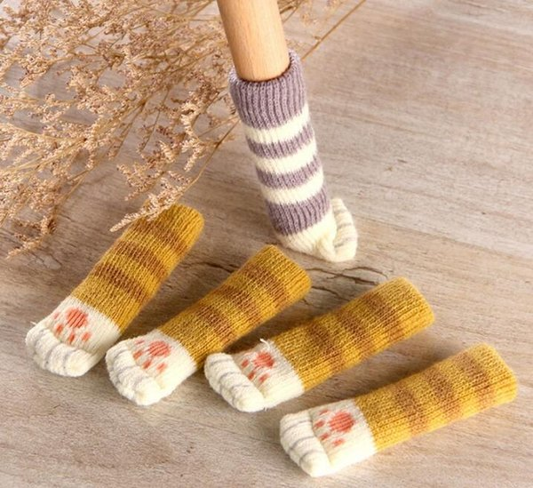 NEW 4Pcs /Set Cute Cat Paw Table Chair Foot Leg Knit Cover Protector Socks Sleeve Protector Good Scalability Non-Slip Wear