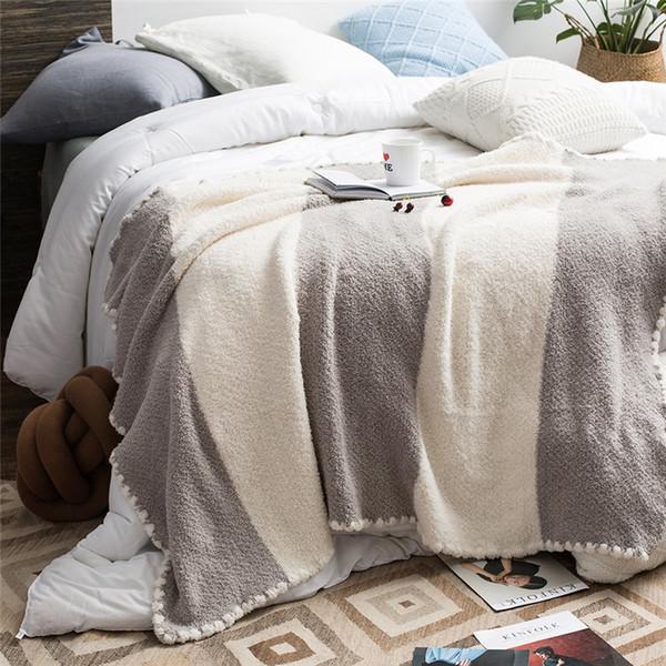Polyester fiber Portable Yarn Dyed Thread Blanket/Towel Blanket cozy chunky knit blanket