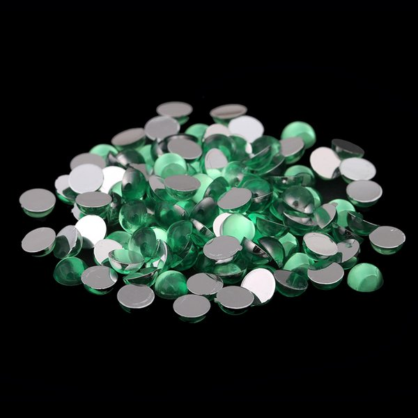 Sun Green Color Half Round Facets Many Sizes Acrylic Flat Back DIY Rhinestones 3D Nail Art Fingernails Glitter Decorations
