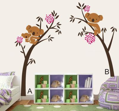 4 Colors Big Koala Tree Wall Stickers Wallpaper Wall Picture Art Room Home Decor Kitchen Accessories Household Crafts Suppllies
