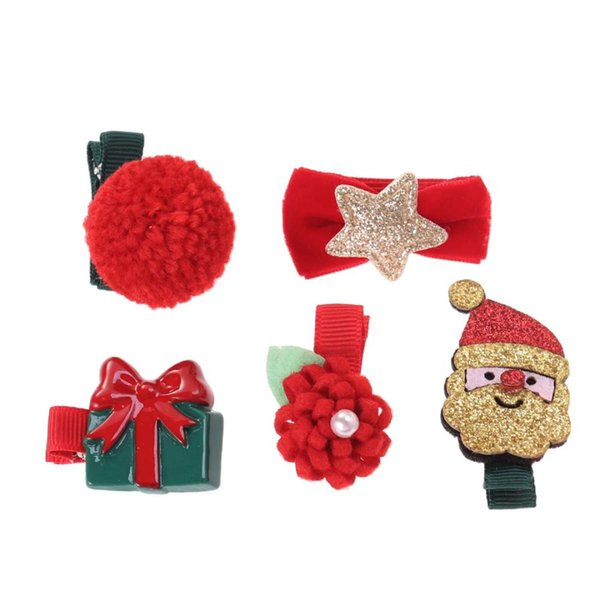 5pcs Fashion Lovely Christmas Themed Barrettes Hair Clips No Slip Hair Accessories for Children Babies Teens Toddlers