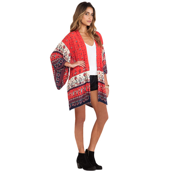 Women Chiffon Kimono Cardigan Bikini Cover Up Print Boho Long Loose Casual Beach Robe Blouse Top Red/Yellow Saida De Praia 2017