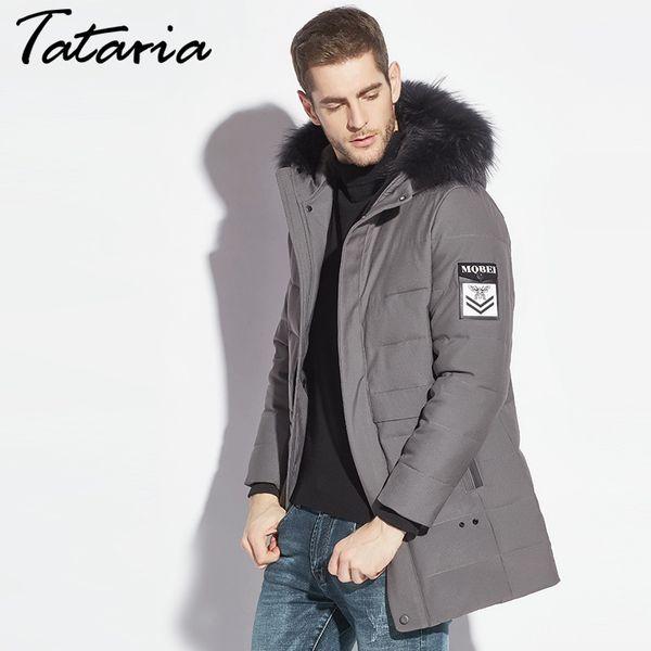 95e36f444 Chaqueta de invierno para hombre sudaderas con capucha de piel Parkas Abajo  Abrigos de algodón Parka