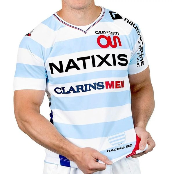 MAILLOT AUTHENTIC RACING 92 EXTÉRIEUR 2018 19 TEE-SHIRT SUPPORTER XV DE FRANCE France Rugby Maillot de Foot French BOLN Rugby size S-M-L-3XL