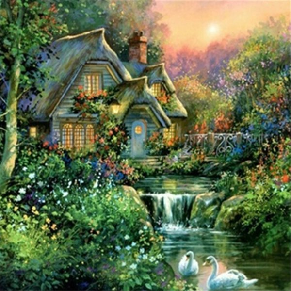 5D Diy diamond painting, diamond embroidery, home decoration, crafts, mosaic, cross stitch, landscape, forest, house, swan, lake