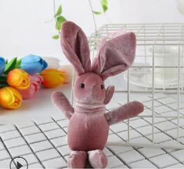 18.8*10CM Soft Mini Joint Rabbit Pendant Plush Bunny For Key Chain Bouquet Toy Doll DIY Ornaments Gifts YH1304