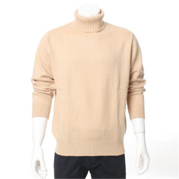 high grade 100%goat cashmere thick knit men fashion turtleneck pullover sweater H-straight neutral color S/2XL/EUR
