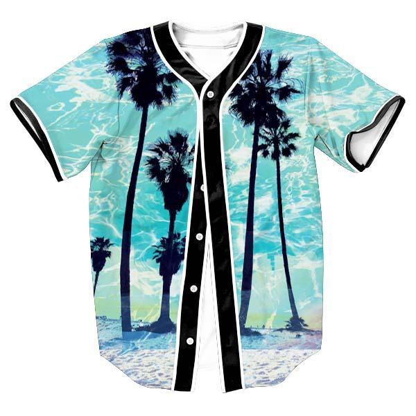 Fashion 3D Print Hawaii Beach Tree Blue Baseball T Shirt Summer Design Short Sleeve Button Cardigan Jersey T Shirts Casual Tops