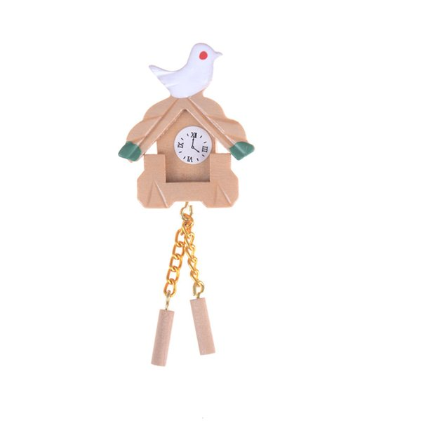 Venta caliente Miniatura 1:12 Casa de Muñecas Muebles Bird Bird Dollhouse Mini Simulación Bird Madera Reloj Niños Habitación Pared Linda