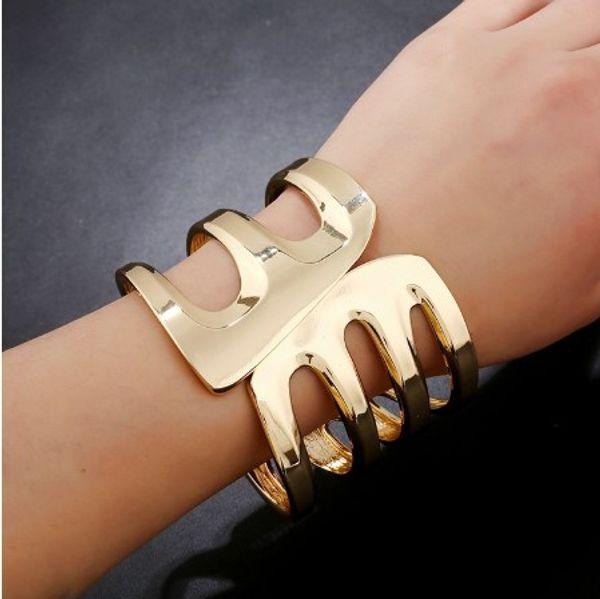 High End Polished Bangle Bracelets Wide Cut Out Gold /Silver Tone Cuff Bracelets For Womens Bangle Cuff Bracelets