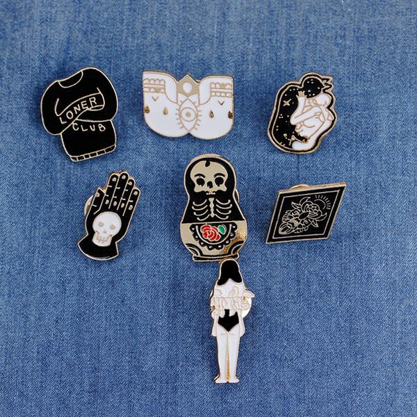 Vintage-Schmuck Böse Harte Emaille Pins Punk Anstecknadel Skeleton Schädel Palm Totem Introvertierte Einsamer Brosche Button Kleidung Tasche Abzeichen
