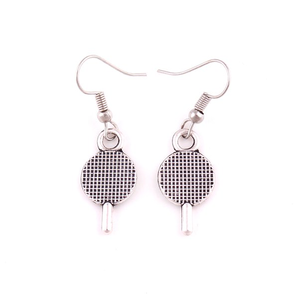 New Fashion Tennis Racket Charm Pendant Silver Color Table Tennis Bats Sports Design Earrings For Woman Style Jewelry