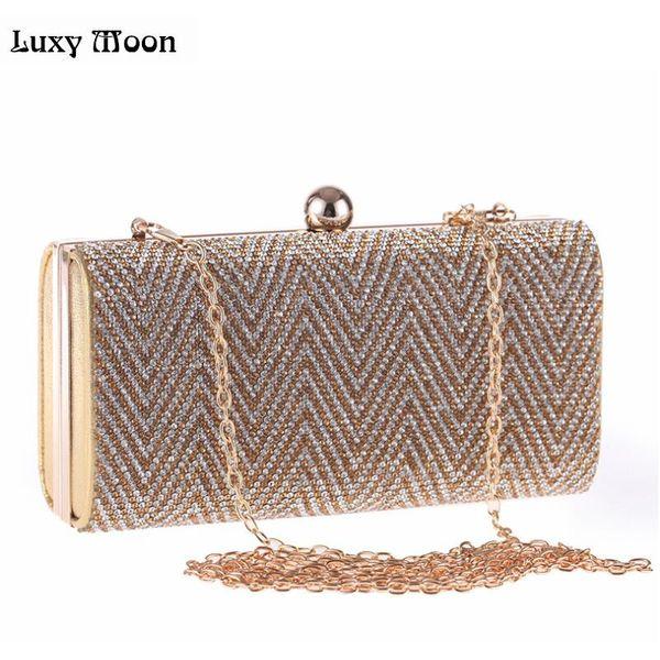 2017 Crystal Silver Evening Bag Gold Clutch Bags Clutches Lady Wedding Purse Rhinestones Wedding Handbags Black Evening Bag