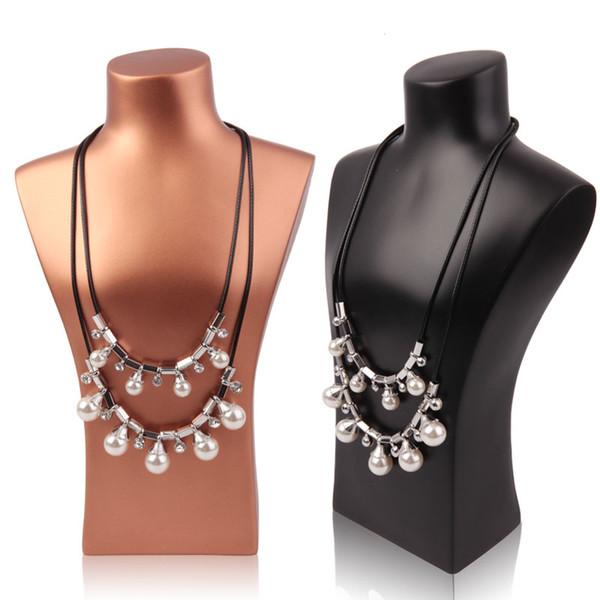 Collana di gioielli di arte Display Busto Modello di resina Stand di gioielli Forma di collo per gioielli Finestra Shelf Counter Top Maglione catena titolare