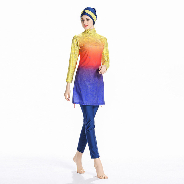 Modest Muslim Swimwear Islamic Push Up Long Sleeve Plus Size Swimsuit For Women Full Cover Conservative Burkinis Swim Wear Sunscreen