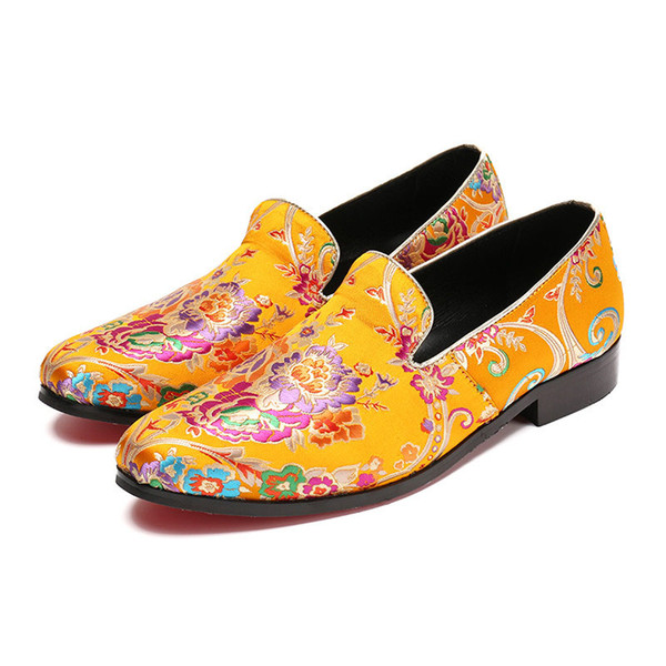 British Floral Embroidery Men Dress Shoes Fashion Loafers Wedding Prom Slip on Men Formal Shoes Smoking Slippers