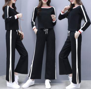 Women's new style spring and autumn wear, ladies' long sleeves, striped legged trousers, and Western style leisure two sets.