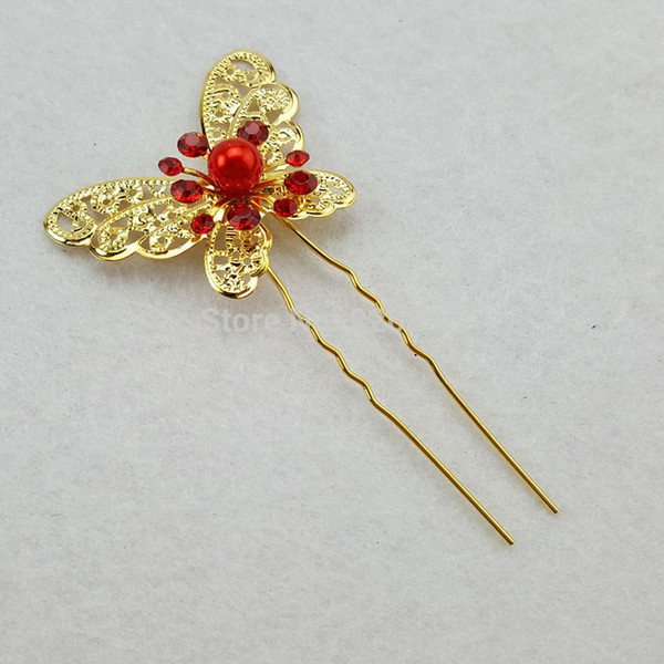 20PCS Crystal Butterfly Pearl Rhinestone Wedding Bridal Flower Hair Clip Hairpin Party Hair Accessory 9002# Gold/Silver Color C18110801