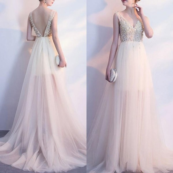 2019 Sparkly A-line Wedding Dresses Deep V Neck Sleeveless Backless Sexy Sheer Tulle Bridal Gowns with Sequins Pearls Top Sweep Train