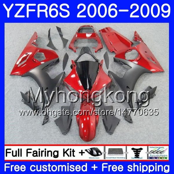 Pearl red glossy Body For YAMAHA YZF R6 S R 6S YZF600 YZFR6S 06 07 08 09 231HM.7 YZF-600 YZF R6S YZF-R6S 2006 2007 2008 2009 Fairings Kit