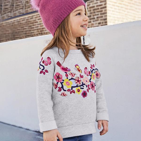 Little Maven Marca 2018 Moda Bonito Manga Longa Outono camiseta Para Meninas Com bordado flor o Pescoço Camisola Roupas 4-10