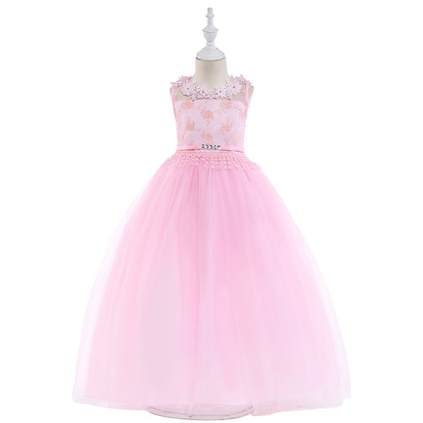 Girls pink dress backless wedding dress long skirt flower puff princess long dress