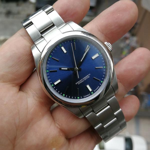 새로운 고급 손목 시계 사파이어 영속 새로운 날짜 없음 스틸 돔형 114300 자동 기계 망 남성용 시계