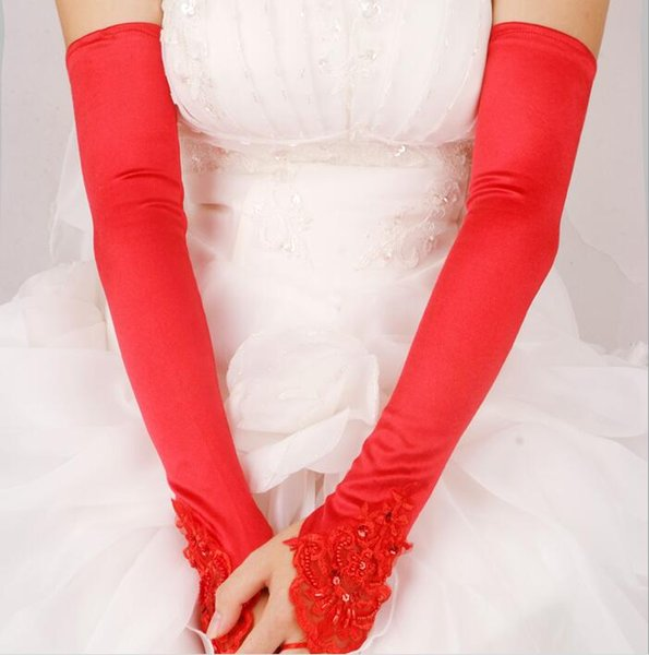 White Black Red Fingerless Above Elbow Length Bridal Gloves Satin Flat Wedding Party Gloves Beads Lace Cheap Wedding Accessories