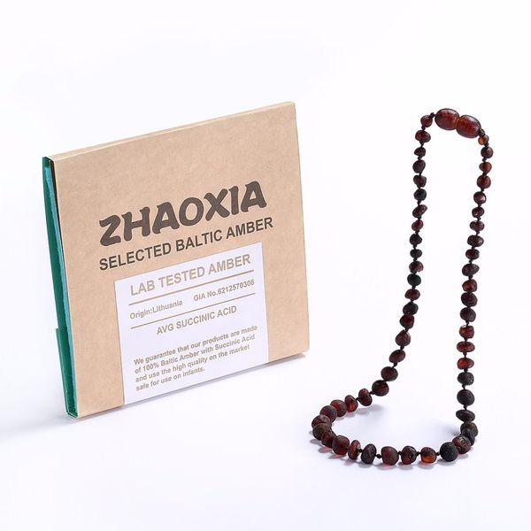 Ожерелье-прорезыватель для младенцев из необработанного балтийского янтаря (Cherry