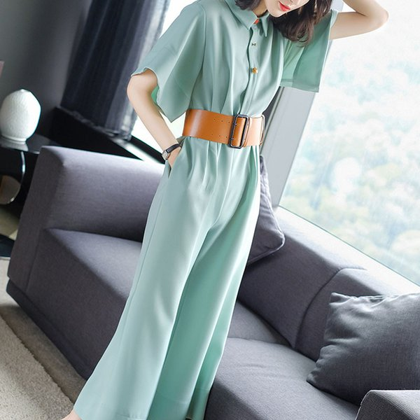 Casual Female Workplace suit Lace fashion Wide leg jumpsuits loosepantssingle-breasted High Waist Jumpsuits With Belt
