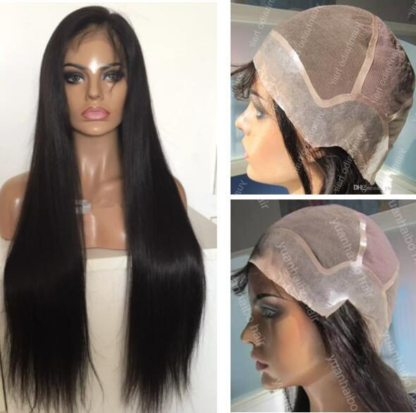 Full Lace with PU around Wigs Peruvian Human Hair Straight Hair Full Lace with Thin Skin Perimeter Wig for Black Woman Free Shipping
