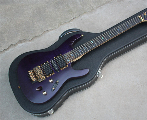Free shipping! wholesale6-String Electric Guitar,Purple color Mahogany Body,24 Frets,Open Pickups,Gold Hardware with Floyd Rose,180901