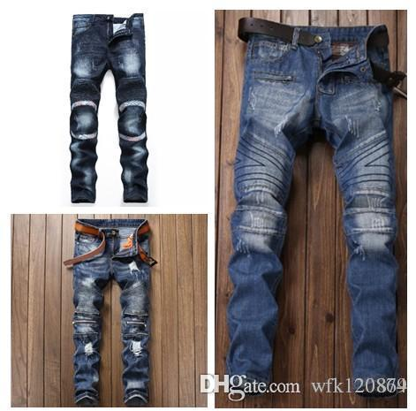 Diseñador italiano hombres Robin Jeans marca de alta calidad Straight Fit desgastados rasgados Jeans para hombres de color azul claro para hombre 28-38