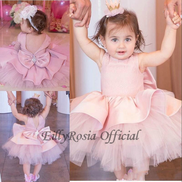 Lovely Baby Toddler Ball Gowns Prom Dresses Birthday Dusty Rose Pink Lace Sleeveless Bow First Communion Dress Cute Fluffy Flower Girl Dress