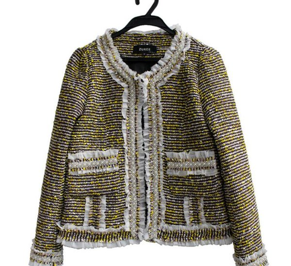 Women winter coat Top Quality Luxury fashion Noble Gold silk thread beads pearl Wool knit Ladies OL Boutique woven tweed coat