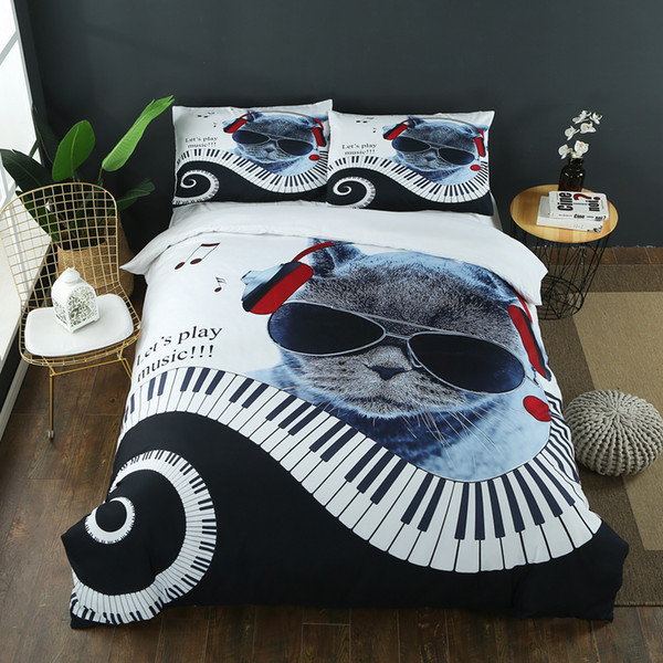 Mr. Cat playing the piano 3d king/queen/twin size 3pcs bedding set of duvet/doona cover pillow cases bed linen set #sw
